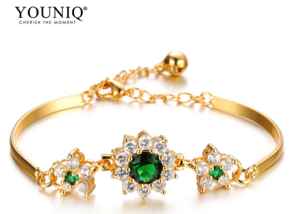 YOUNIQ Emerald Gemstone 18K Gold Plated Bracelet, 916 Gold Bracelet Malaysia, Gold Bracelets for Men and Women