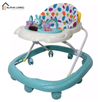 Alpha Living Simple and Compact Foldable Baby Walker with Music brand baby walker is best in Malaysia, Folding Baby Walker Travel Compact Fold Portable Walker with Music and toys, this baby walker help the baby move and jump while being in the harness