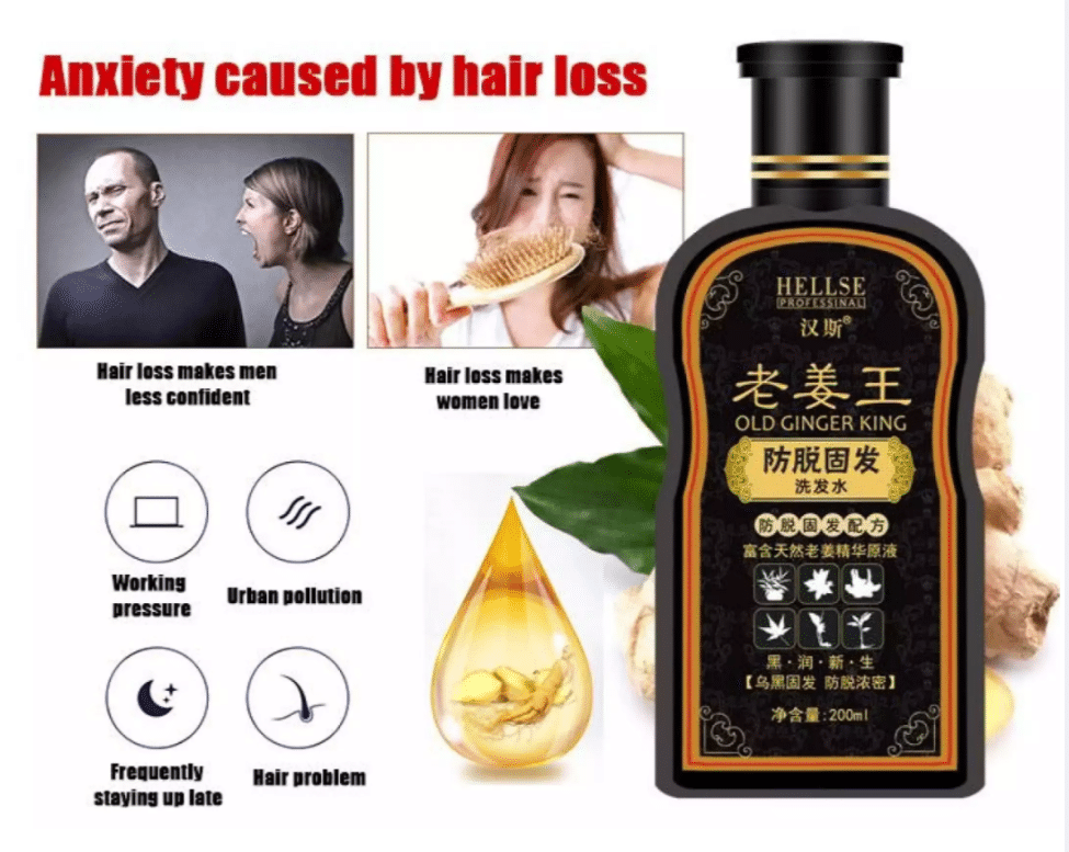 HELLSE Ginger Hair Shampoo is The 10 Best Shampoos for Thinning Hair this year